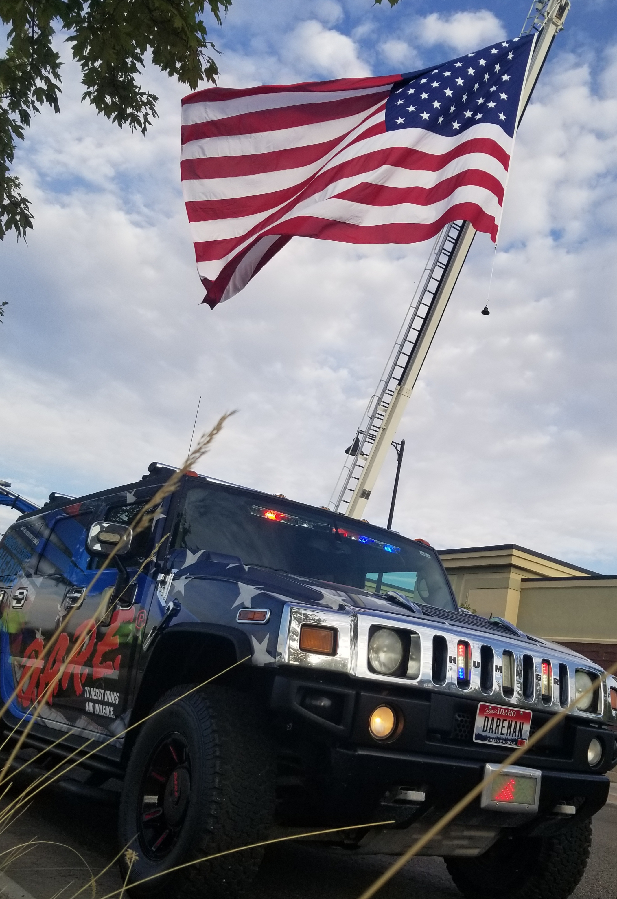 DARE Hummer and American flag